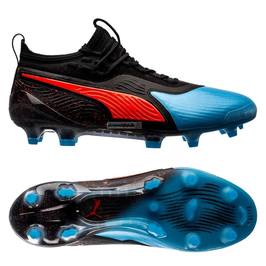 Puma One 19.1 FG/AG Power Up Bleu Rouge Noir