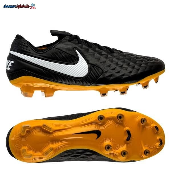 Nike Tiempo Legend 8 Elite FG Leather Tech Craft Noir Blanc Or
