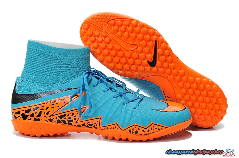 Nike HyperVenom Alto TF Bleu Orange Noir