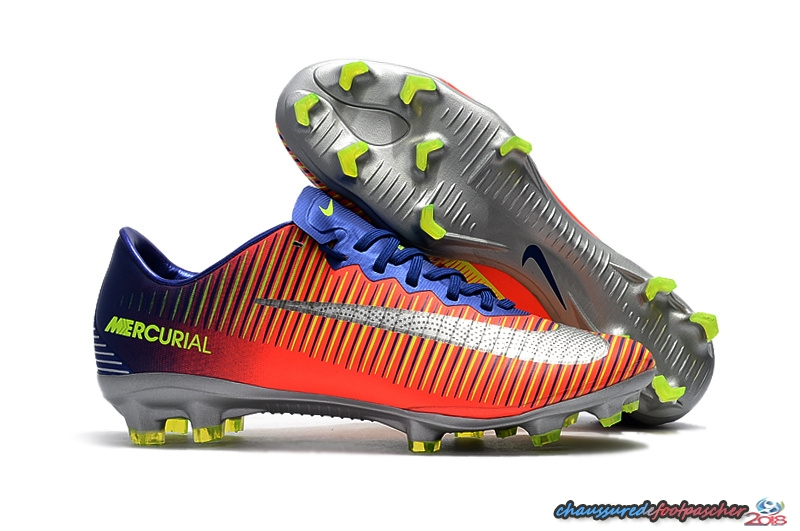 Nike Mercurial Superfly V FG Bleu Orange Jaune Argent