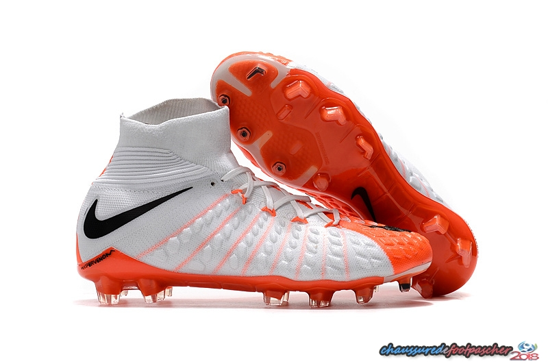 NIke Hypervenom Phantom III DF FG Blanc Orange